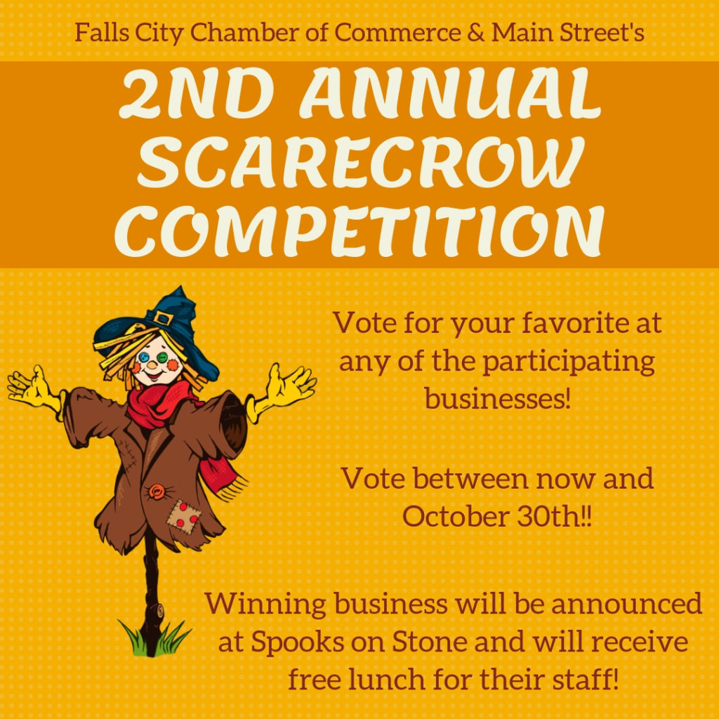 2nd annual scarecrow contest falls city area chamber main street